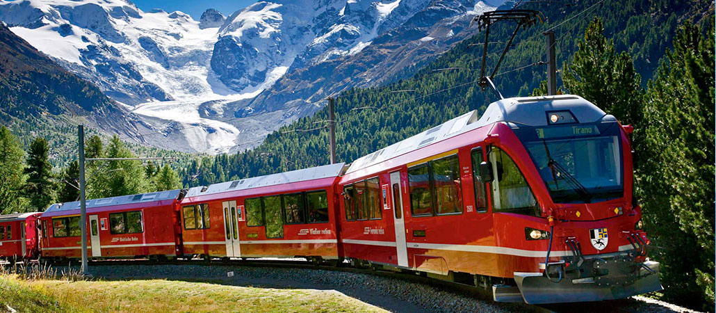 Bernina train and St. Moritz